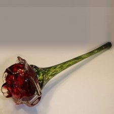 Red Blossom Glass Cremation Keepsake