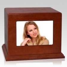 Red Cherry Photo Wood Cremation Urn