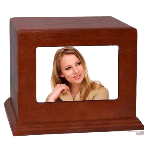 Red Cherry Photo Wood Cremation Urn