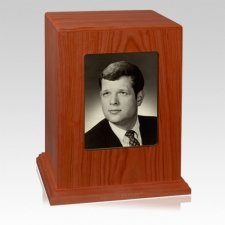 Red Cherry Picture Wood Cremation Urn