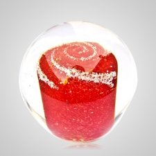 Red Cremation Glass Weight