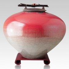 Raku Red Star Cremation Urns