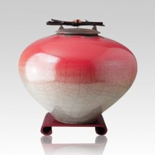 Raku Red Star Large Cremation Urn