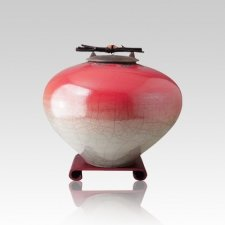 Raku Red Star Small Cremation Urn