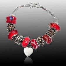 Red Heart Cremation Bracelet