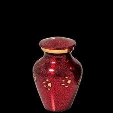 Red Paw Print Keepsake Cremation Urn