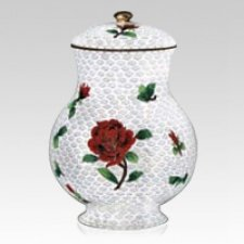 Red Rose Cloisonne Cremation Urn