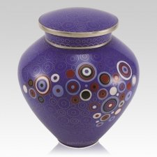 Retro Blue Cloisonne Cremation Urn
