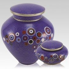 Retro Blue Cloisonne Cremation Urns