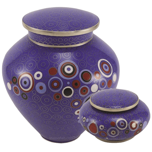 Retro Blue Cloisonne Cremation Urns