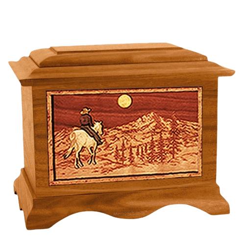 Riding Home Mahogany Cremation Urn