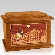 Riding Home Mahogany Memory Chest Cremation Urn