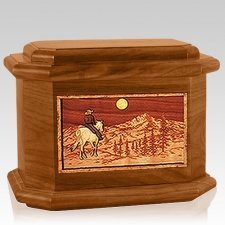 Riding Home Mahogany Octagon Cremation Urn