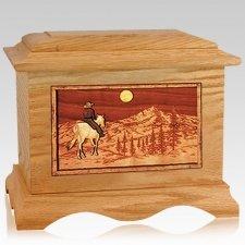 Riding Home Oak Cremation Urn