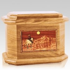 Riding Home Oak Octagon Cremation Urn