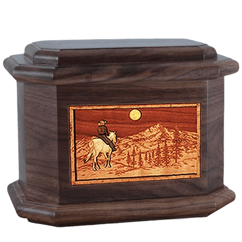 Riding Home Walnut Octagon Cremation Urn