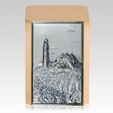 Rocky Shore Lighthouse Bronze Cremation Urn