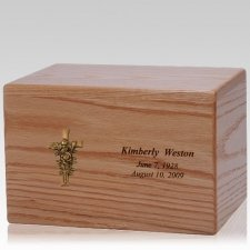 Rose Cross Wood Cremation Urn