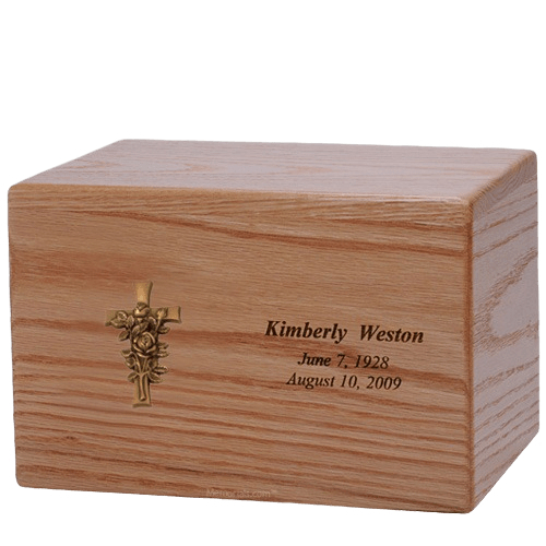 Rose Cross Wood Cremation Urn