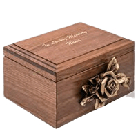 Rose Figurine Wood Cremation Urn