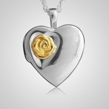 Rose Heart Locket Keepsake Pendant