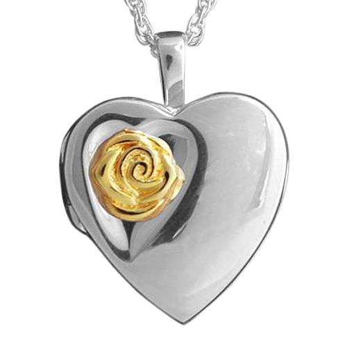 Rose Heart Locket Keepsake Pendant