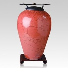Raku Tall Rose Cremation Urns