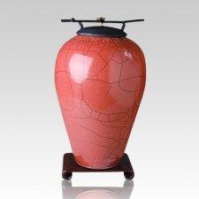 Raku Tall Rose Cremation Urn