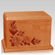 Roses Companion Mahogany Wood Urn