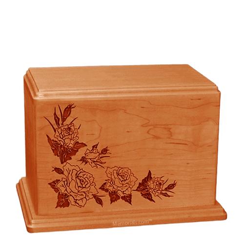 Roses Individual Mahogany Wood Urn