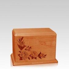 Roses Small Mahogany Wood Urn