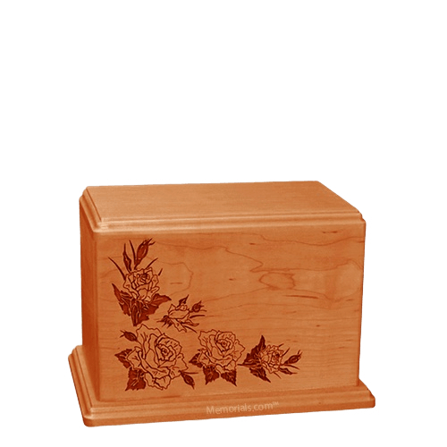 Roses Small Mahogany Wood Urn