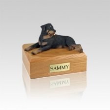 Rottweiler Laying Small Dog Urn