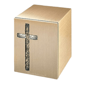 Rugged Cross Bronze Cremation Urn
