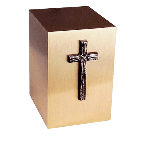 Rustic Cross Bronze Cremation Urn