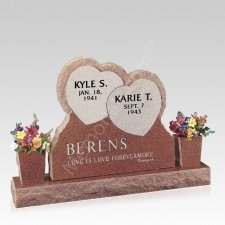 Rustic Hearts Upright Cemetery Headstone