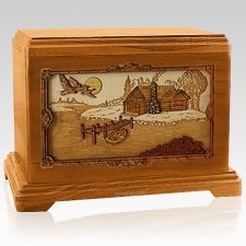 Rustic Paradise Mahogany Cremation Urn For Two