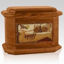 Rustic Paradise Mahogany Octagon Cremation Urn
