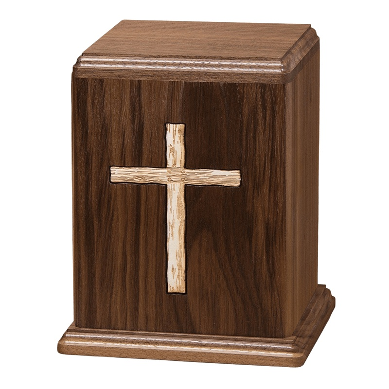 Rustic Cross Wood Cremation Urn