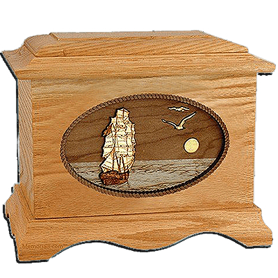 Sailing Home Oak Cremation Urn for Two