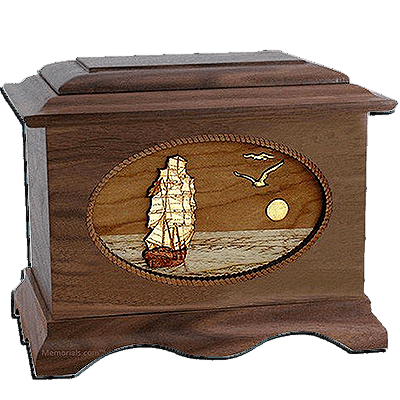 Sailing Home Walnut Cremation Urn For Two