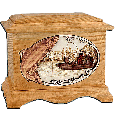 Salmon Fishing Oak Cremation Urn for Two