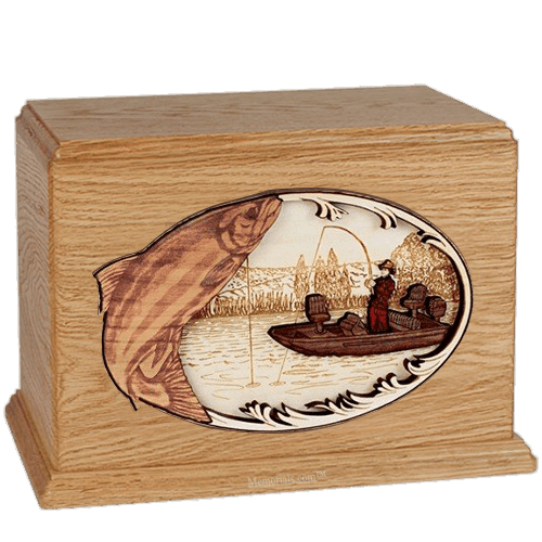 Salmon Fishing Oak Companion Urn