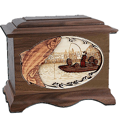 Salmon Fishing Walnut Cremation Urn For Two