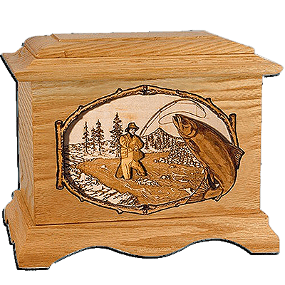 Salmon Stream Oak Cremation Urn for Two