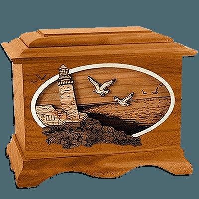 Sea Coast Mahogany Cremation Urn for Two