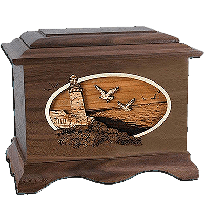 Sea Coast Walnut Cremation Urn For Two