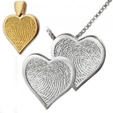 Double Heart Print Keepsake