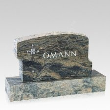 Sacred Cross Companion Granite Headstone