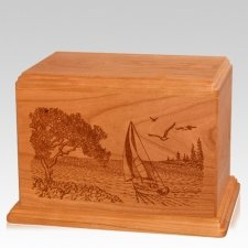 Sail Away Companion Mahogany Wood Urn